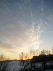On the train - evening sky - January