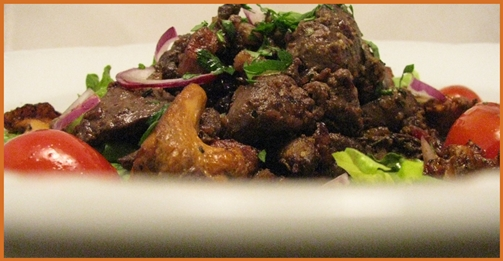 warm chicken salad, plate close up