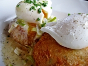 fish cakes with poached egg