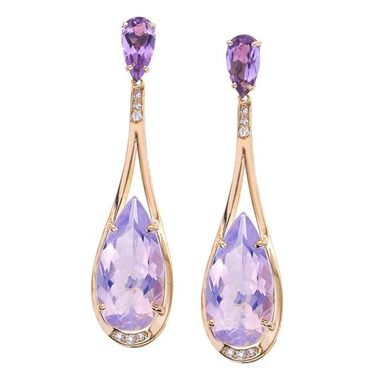 18K Gold Amethyst, Diamond Drop Earrings - jewelista com