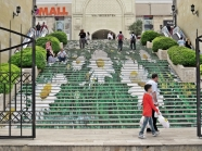 mall stairs.