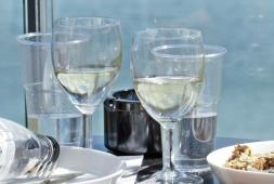 white wine & blue ocean
