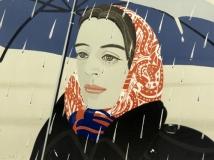 ada with blue umbrella