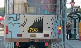 behind a tram