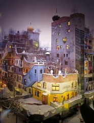 Hundertwasser House winter poster
