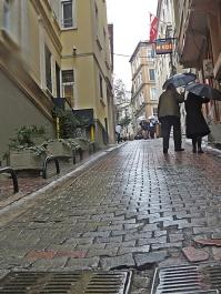 uphill in the rain