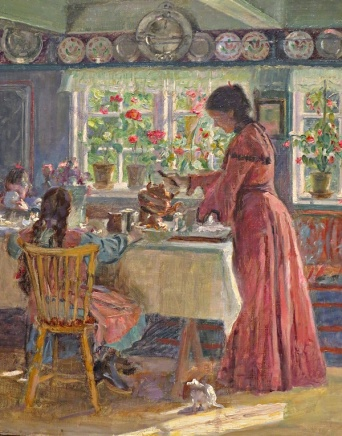 Lauritz Tuxem (1906) - pouring morning coffee