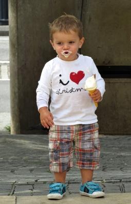 boy with big appetite on ice cream,, Bristol/UK - August 21015