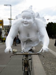 On her bike