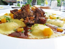 pumpkin ravioli with oxtail ragu