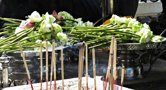 Lotus flowers and incense stick offering