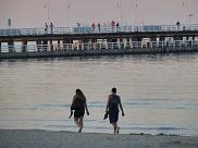 beach walk in the sunset